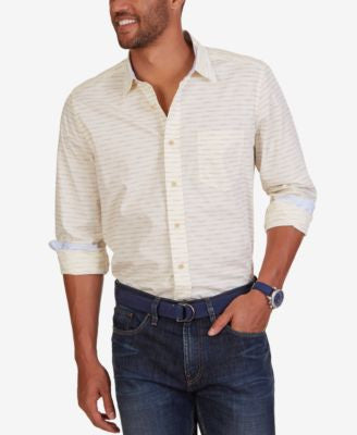 Nautica Men's Dot-Stripe Long-Sleeve Shirt