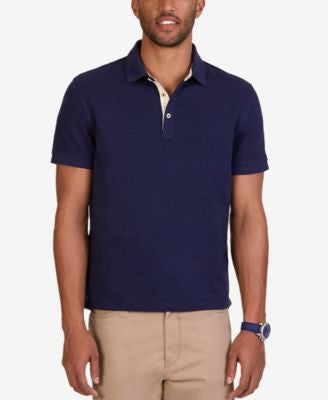 Nautica Men's Classic Fit Voyager Solid Waffle-Knit Stripe Polo