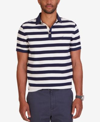 Nautica Men's Classic Fit Voyager Waffle-Knit Stripe Polo