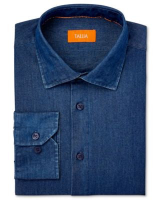 Tallia Men's Fitted Indigo Denim Dress Shirt