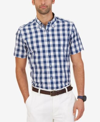 Nautica Men's Bright White Check Long-Sleeve Shirt
