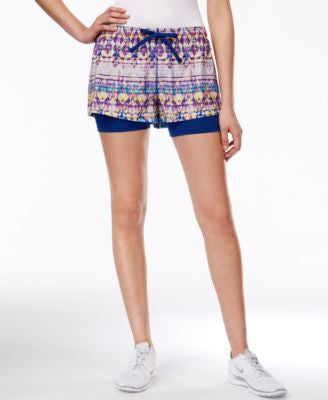 Jessica Simpson The Warm Up Dual-Layer Printed Mesh Running Shorts, Only at Vogily