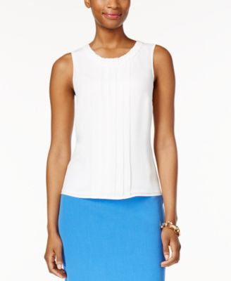 Kasper Sleeveless Pleat-Neck Top