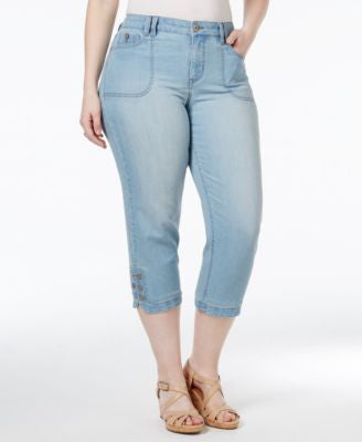 Style & Co. Plus Size Tummy-Control Blossom Wash Capri Jeans, Only at Vogily