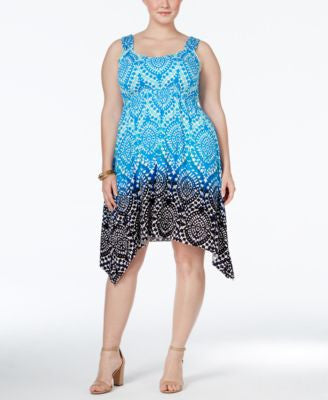 Style & Co. Plus Size Printed Handkerchief-Hem Dress, Only at Vogily