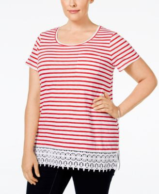 Charter Club Plus Size Striped Crocheted-Hem Top, Only at Vogily