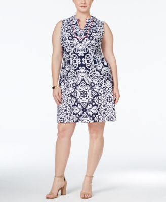 Charter Club Plus Size Printed Shift Dress, Only at Vogily