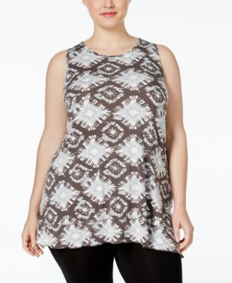 Style & Co. Plus Plus Size Tie-Dyed Sleeveless Top, Only at Vogily