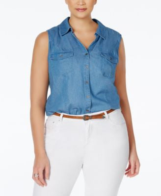Style & Co. Plus Size Denim Sleeveless Shirt, Only at Vogily