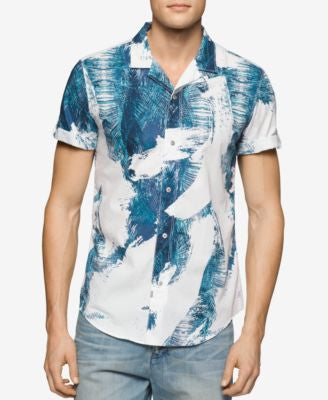 Calvin Klein Jeans Men's Palm Camp Short-Sleeve Shirt