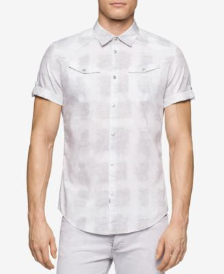 Calvin Klein Jeans Men's White River Reflection Short-Sleeve Shirt