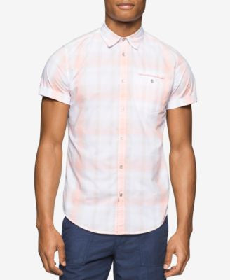 Calvin Klein Jeans Men's Ocean Air Plaid Short-Sleeve Shirt