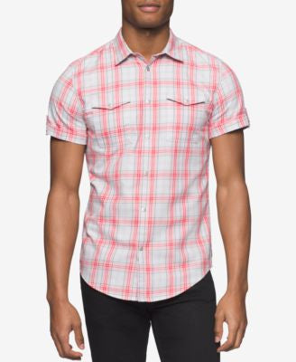 Calvin Klein Jeans Men's Twill Plaid Short-Sleeve Shirt