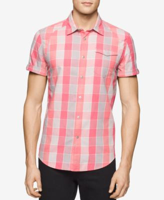 Calvin Klein Jeans Men's Twill Checked Short-Sleeve Shirt