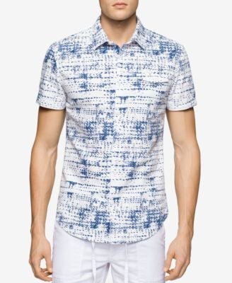 Calvin Klein Jeans Men's Tread-Print Short-Sleeve Shirt