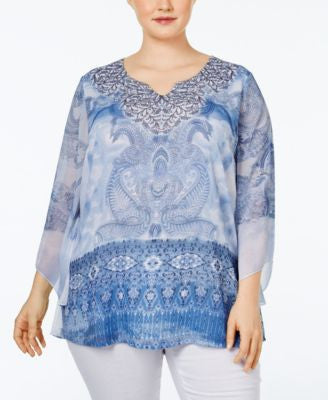JM Collection Plus Size Embellished Printed Tunic, Only at Vogily