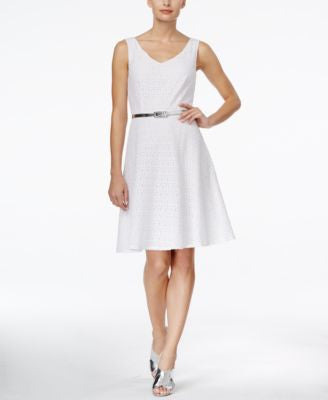 Connected Sleeveless V-Neck Belted Dress