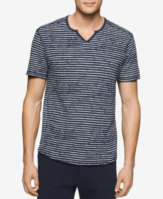 Calvin Klein Jeans Men's Split-Neck Distressed Striped T-Shirt