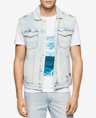 Calvin Klein Jeans Men's Raw Edge Denim Punk Vest