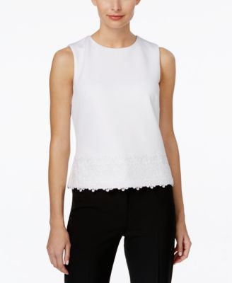 Calvin Klein Sleeveless Scuba Lace-Hem Top