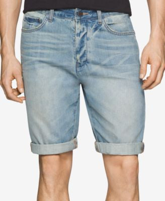 Calvin Klein Jeans Men's Cuffed-Hem Faded Tinted Wave Denim Shorts