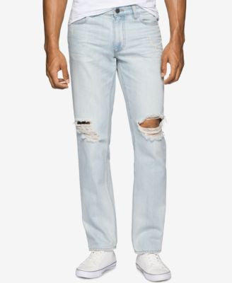 Calvin Klein Jeans Men's Faded and Ripped Beyond Blue Wash Jeans