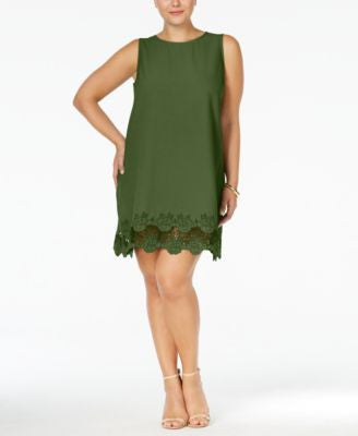 Monteau Plus Size Sleeveless Scalloped-Hem Shift Dress
