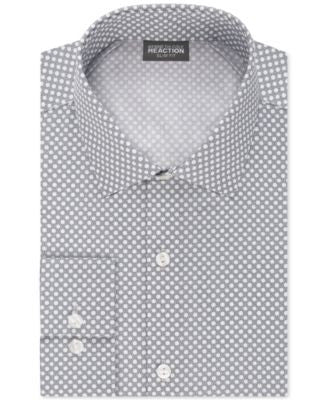 Kenneth Cole Reaction Men's Slim-Fit Techni-Cole Performance Greystone Dot Print Dress Shirt