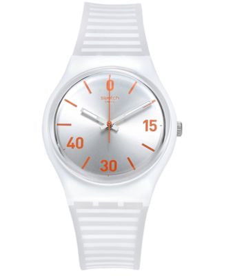 Swatch Unisex Swiss Belle De Match White Silicone Strap Watch 34mm GZ302