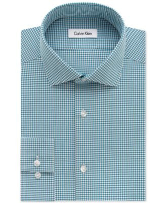 Calvin Klein STEEL Men's Slim-Fit Non-Iron Lapis Gingham Dress Shirt