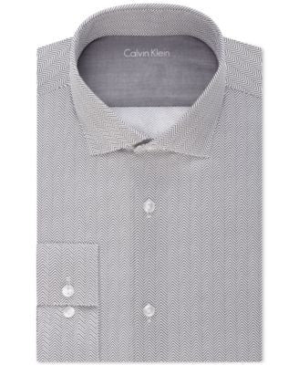 Calvin Klein Men's X Extra Slim-Fit Black Pepper Zig Zag Print Dress Shirt