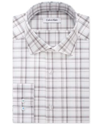 Calvin Klein STEEL Men's Slim-Fit Non-Iron Wide Plaid Dress Shirt