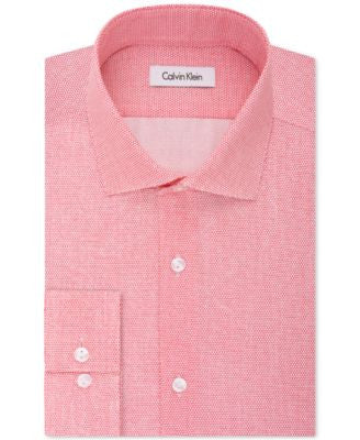 Calvin Klein Men's Infinite Stretch Fitted Cerise Print Dress Shirt