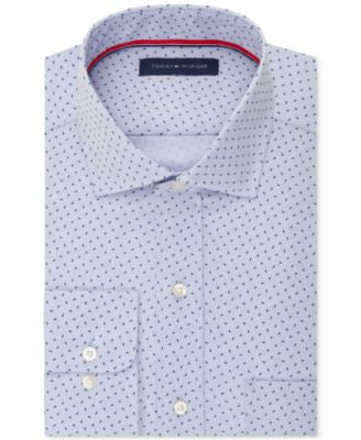 Tommy Hilfiger Men's Classic-Fit Non-Iron Light Blue Teardrop Print Dress Shirt