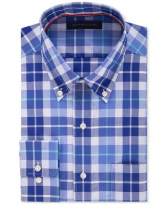 Tommy Hilfiger Men's Classic-Fit Non-Iron Opal Plaid Dress Shirt
