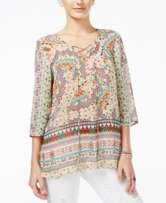 American Rag Juniors' Printed Three-Quarter-Sleeve Tunic, Only at Vogily