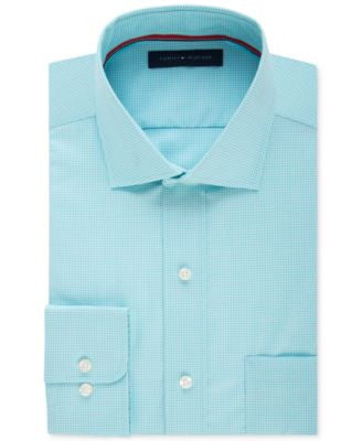 Tommy Hilfiger Men's Classic-Fit Non-Iron Aqua Micro-Grid Dress Shirt
