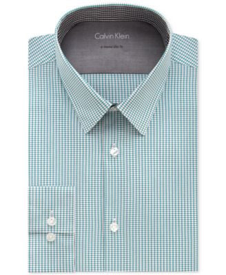 Calvin Klein Men's X Extra Slim-Fit Stream Blue Mini-Check Dress Shirt