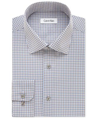 Calvin Klein STEEL Non-Iron Men's Classic-Fit Blue Topaz Checked Dress Shirt