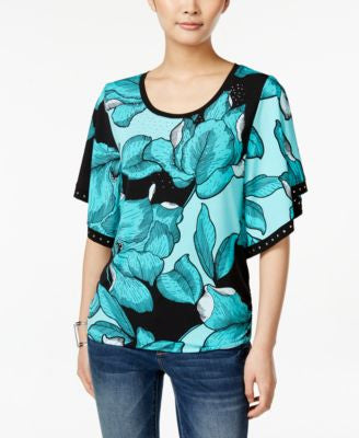 JM Collection Floral-Print Butterfly-Sleeve Top, Only at Vogily