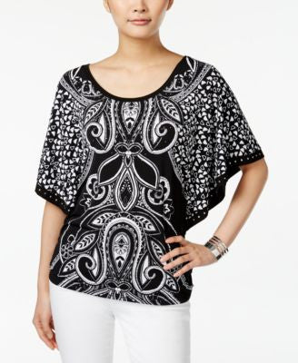 JM Collection Printed Butterfly-Sleeve Top, Only at Vogily