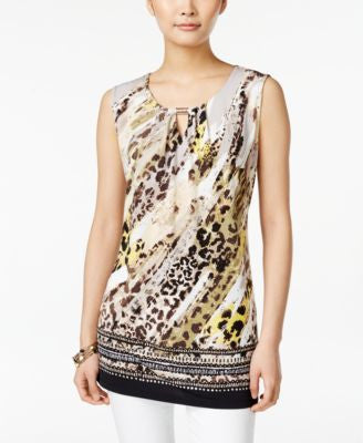 JM Collection Sleeveless Printed Top, Only at Vogily
