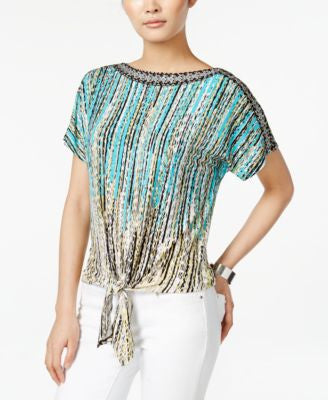 JM Collection Petite Printed Dolman-Sleeve Tie-Front Top, Only at Vogily