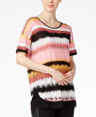 kensie Noisy Stripe Layered Top