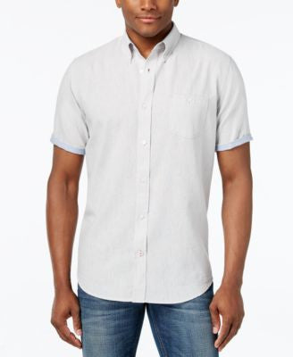 Weatherproof Linen Solid Slub Short-Sleeve Shirt