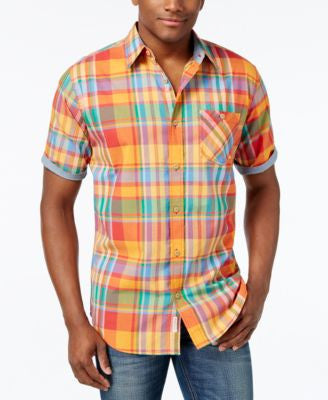 Weatherproof Men's Cotton Plaid Short-Sleeve Shirt