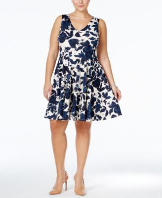 Soprano Plus Size Floral-Print Fit & Flare Dress