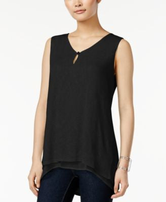 Style & Co. Sleeveless Keyhole High-Low Top, Only at Vogily