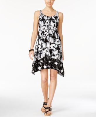 Style & Co. Petite Sleeveless Printed Handkerchief-Hem Dress, Only at Vogily