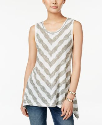 Style & Co. Chevron-Stripe Sleeveless Top, Only at Vogily